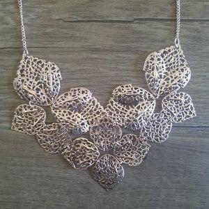 Rose gold leaf bib necklace